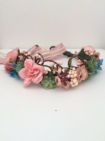 Stellina Mia Pink, Green, Blue, and Dusty Rose Floral Halo available for rent from The Borrowed Boutique.