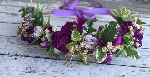 Stellina Mia Plum Purple and Gold Floral Halo available for rent from The Borrowed Boutique.