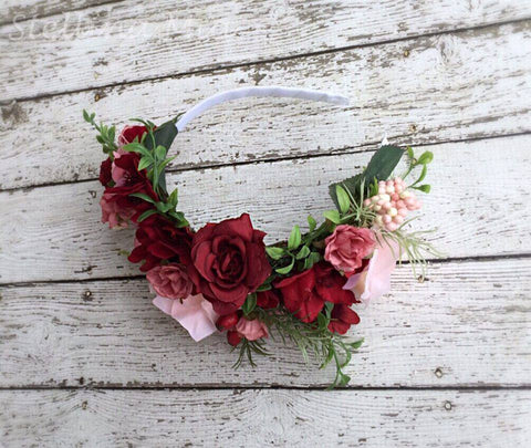 Stellina Mia Roseland Pink and Red Flower Headband available for rent from The Borrowed Boutique.