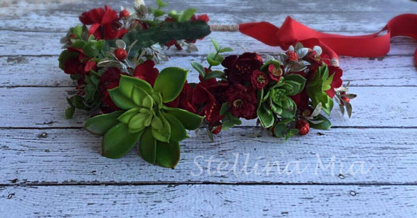 Stellina Mia Seraphina Red and Green Succulent Flora Halo with Large Green Accent available for rent from The Borrowed Boutique.