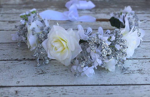 Stellina Mia Silver and White Innocence Floral Halo available for rent from The Borrowed Boutique.