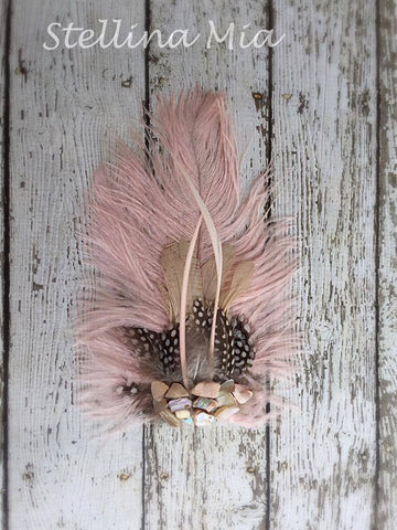 Stellina Mia Tess Feather Hair Clip in Pink available for rent from The Borrowed Boutique.
