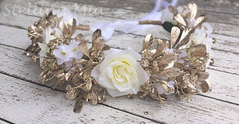 Stellina Mia The Golden Queen Gold and White Floral Halo available for rent from The Borrowed Boutique.