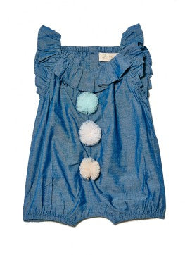 Tutu Du Monde BÉBÉ Audrey Playsuit In Chambray, a soft denim like cotton fabric.