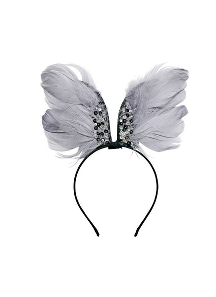 Beautiful Tutu Du Monde Raven Winged Headband In Cloud available for rent from The Borrowed Boutique.