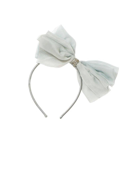 Tutu Du Monde Alice Bow Silk Organza Headband in Glacier available for rent from The Borrowed Boutique.