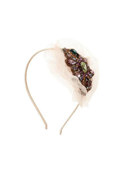 Tutu Du Monde Chiffon Crystal Headband in Chai available for rent from The Borrowed Boutique.