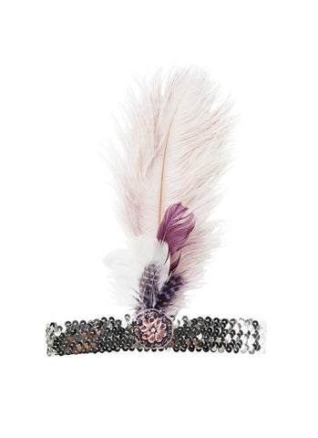 Tutu Du Monde Dusty Skies Feather Headband in Wisteria available for rent from The Borrowed Boutique.