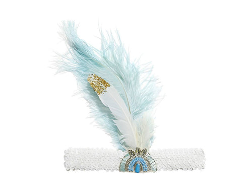 Tutu Du Monde Tickle Me Feather Headband in Hydrangea available for rent from The Borrowed Boutique.