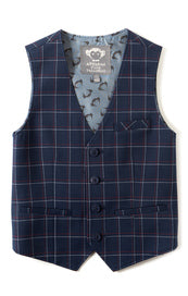 Appaman Boys Tailored Mod Suit Vest In Navy Windowpane for rent from The Borrowed Boutique.