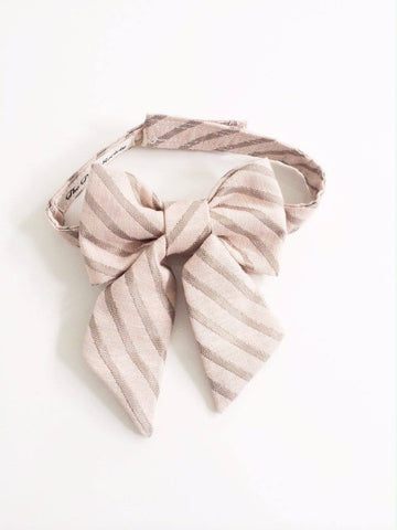The Posh Society Damsel Bow Tie in Blush and Taupe available for rent from The Borrowed Boutique.