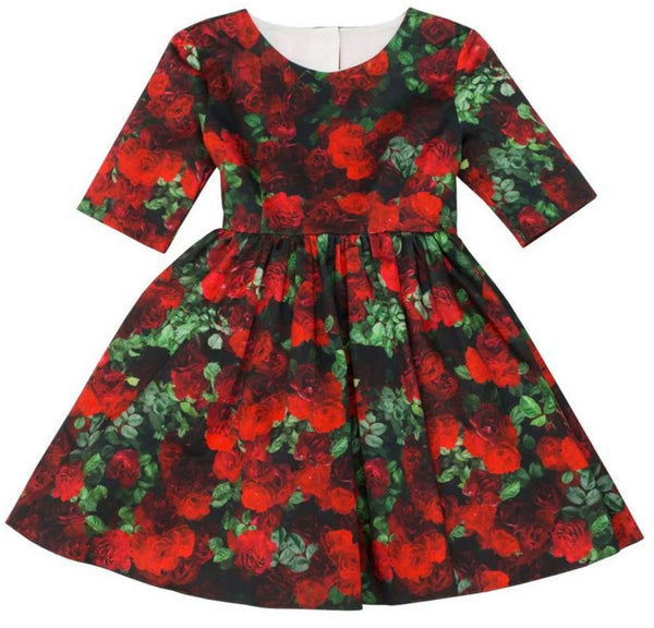 Aristocrat Kids red rose printed dress with elbow-length sleeves, back button closure, fitted bodice with waisted seam, and gathered skirt for full flair.