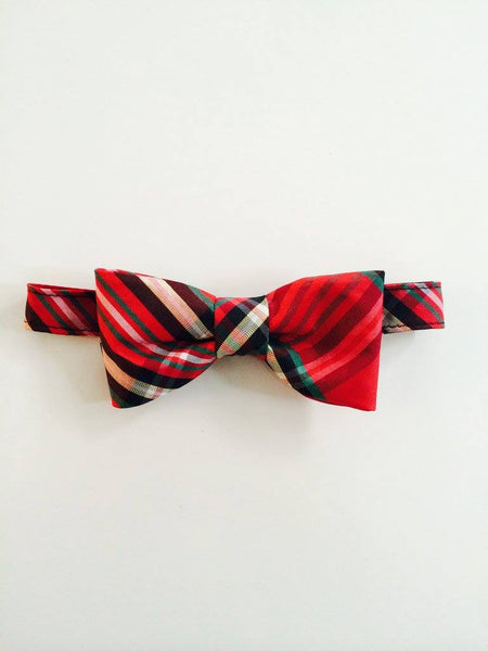 The Posh Society Dapper Bow Tie in Red Plaid available for rent from The Borrowed Boutique.