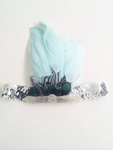 The Posh Society Feather Headband in Teal and Silver available for rent from The Borrowed Boutique.