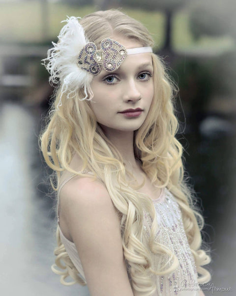 The Posh Society Gatsby Headband in Purple and White available for rent from The Borrowed Boutique.
