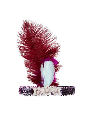 Tutu Du Monde Carnival Feather Headband in Mulberry available for rent from The Borrowed Boutique.