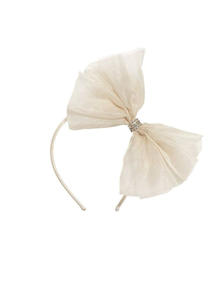 Tutu Du Monde Alice Bow Silk Organza Headband in Milk available for rent from The Borrowed Boutique.