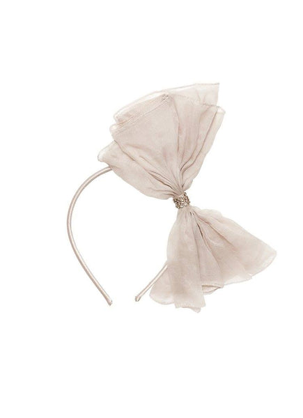 Tutu Du Monde Alice Bow Silk Organza Headband in Platinum available for rent from The Borrowed Boutique.