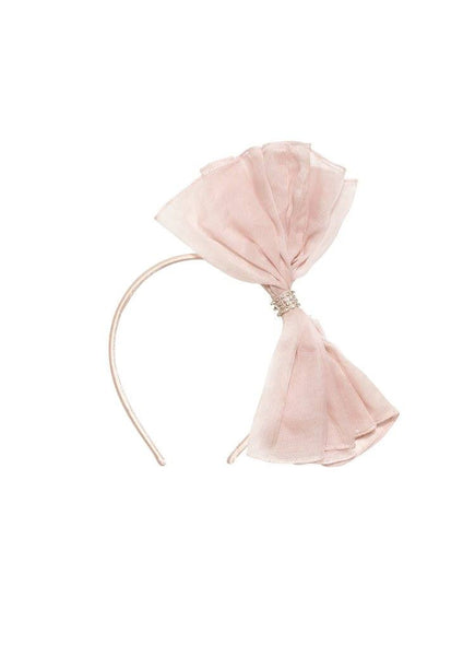 Tutu Du Monde Alice Bow Silk Organza Headband in Powder available for rent from The Borrowed Boutique.