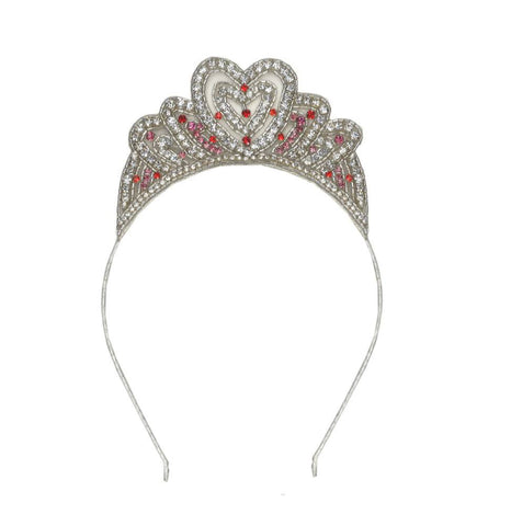 Tutu Du Monde Cupid's Crown Tiara Headband in Silver and Rhubarb available for rent from The Borrowed Boutique.