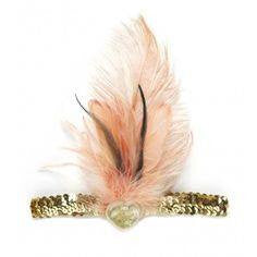 Tutu Du Monde Flamingo Headband in Peach and Gold available for rent from The Borrowed Boutique.