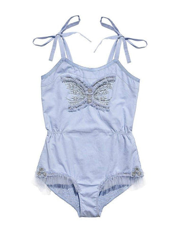 Tutu Du Monde Little Drummer Girl Onesie in Hydrangea available for rent from The Borrowed Boutique.