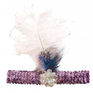 Tutu Du Monde Moonshine Feather Headband in Purple available for rent from The Borrowed Boutique.