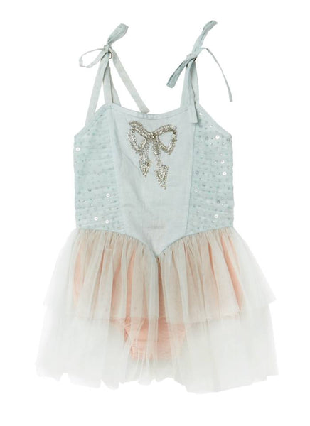 Tutu Du Monde Rolling Hills Onesie in Frost available for rent from The Borrowed Boutique.