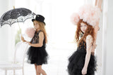 Two girls with umbrellas wearing the Tutu Du Monde Possibility Tutu Dress in Black available for rent from The Borrowed Boutique.