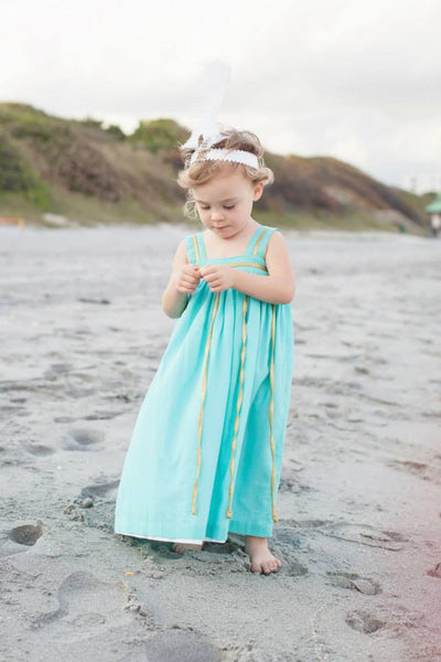 Well Dressed Wolf Josephine Dress in Aqua and Gold