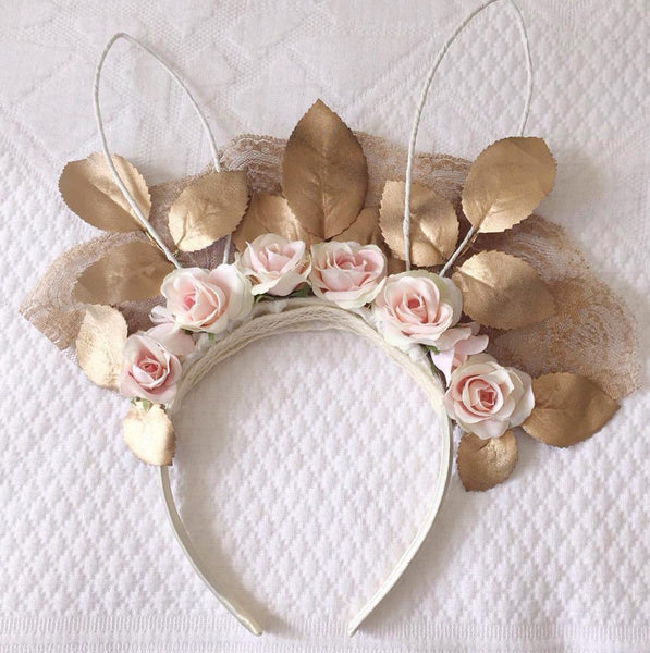 White and Willow Bunny Ears in Gold and Pink