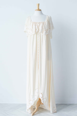 Fillyboo Wonder Years Women's Embroidered Maxi Dress In Ecru Cream