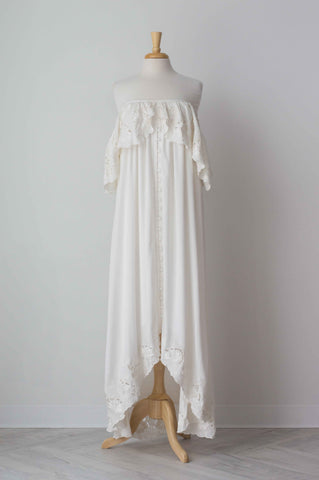 Fillyboo Wonder Years Embroidered Women's Maxi Dress in Ivory