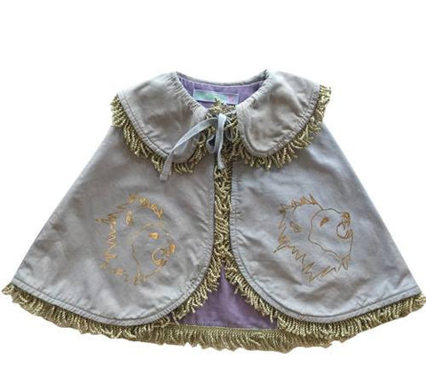 Wovenplay Reversible Lion Cape in Gold with Purple Lining