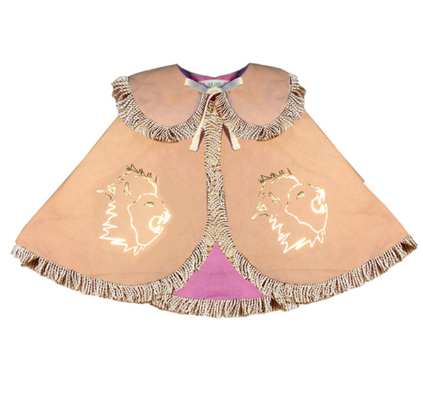 Wovenplay Reversible Lion Cape in Gold with Pink Lining