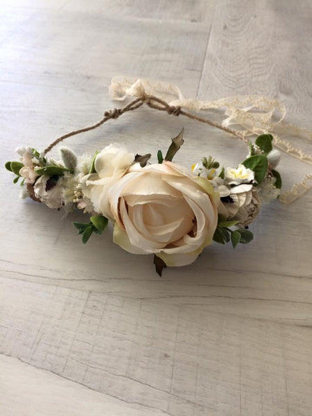 Avry Couture Creations Spring Cream Floral Halo