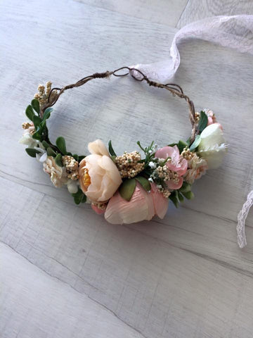 Avry Couture Creations Peach and Pink Floral Delight Halo