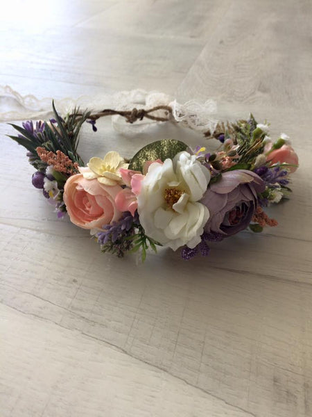 Avry Couture Creations Purple and Peachy Pink Floral Halo