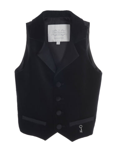 Little Wardrobe London Boys Midnight Noir Black Velvet Waistcoat.
