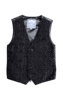 Appaman boys tailored vest in printed black velvet.