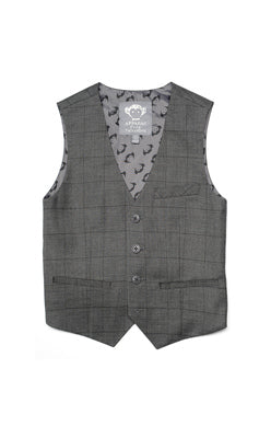 Appaman Boys Tailored Vest In Charcoal Wales Check.