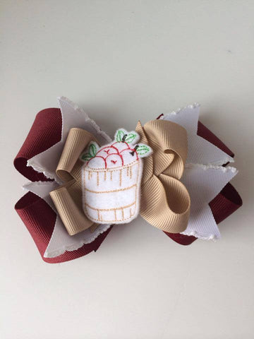 Hand made ribbon hair clip made to match our Well Dressed Wolf Sweet Apples dress.