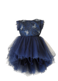 DOLLY by Le Petit Tom Drama Dress in Navy available for rent from The Borrowed Boutique.