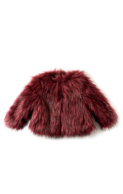 Appaman Faux-Fur Coat In Garnet