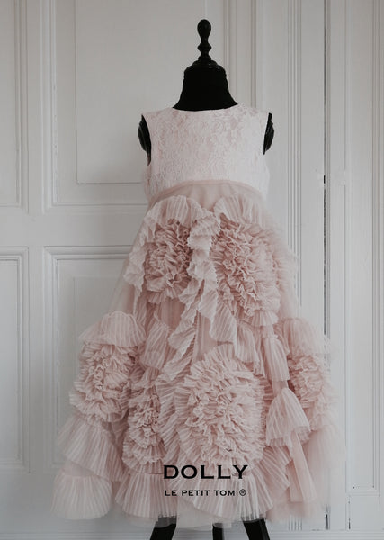 Dolly by Le Petit Tom Frisky Frolic Long Dress in Blush/Off-White available for rent from The Borrowed Boutique.