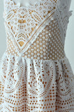 Lace Lattice Women's Dress In White