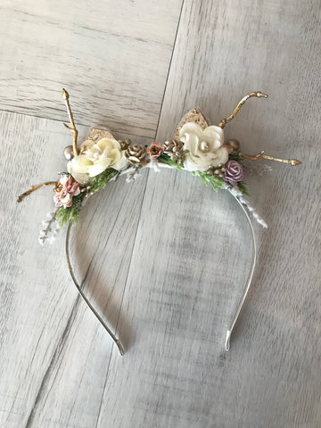 Avry Couture Creations Reindeer Headband In White
