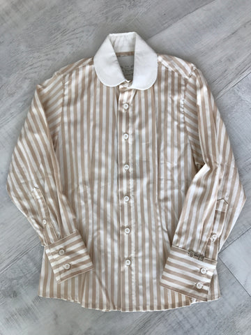 Little Wardrobe London Boys Striped Dress Shirt In Cream and Nude.