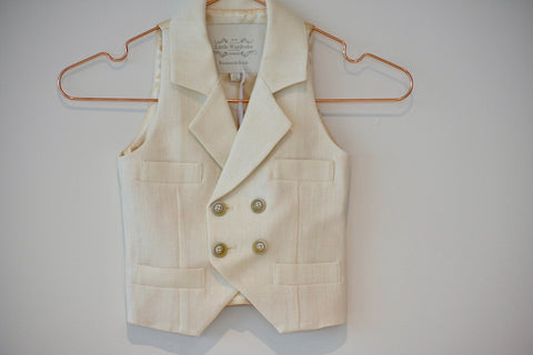 Little Wardrobe London Herringbone Waistcoat In Ivory