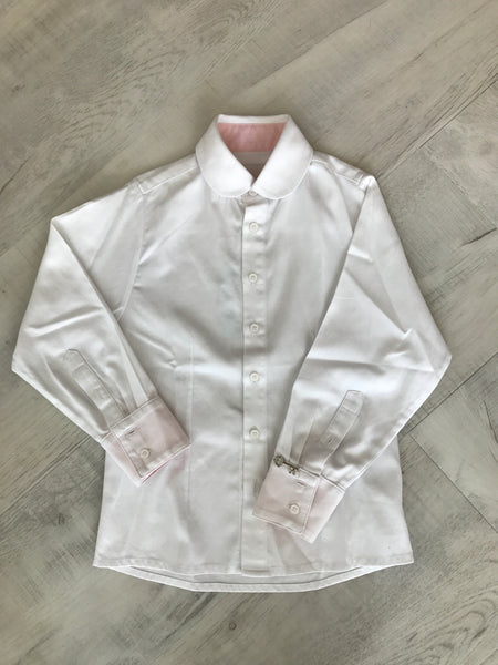 Little Wardrobe London Boys Standard Dress Shirt In White for rent from The Borrowed Boutique.